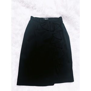 JH Collectibles Black Wrap Skirt with side Bow